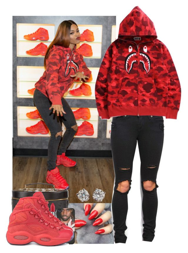 """Teyana Taylor's Reebok Red October sneaker release date - Exact outfit"" by jasmineharper ❤ liked on Polyvore featuring Reebok, MCM, A BATHING APE, MAC Cosmetics and Tiffany & Co."
