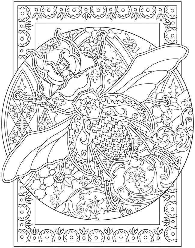 free printable bee abstract adult coloring page via dover rh pinterest com