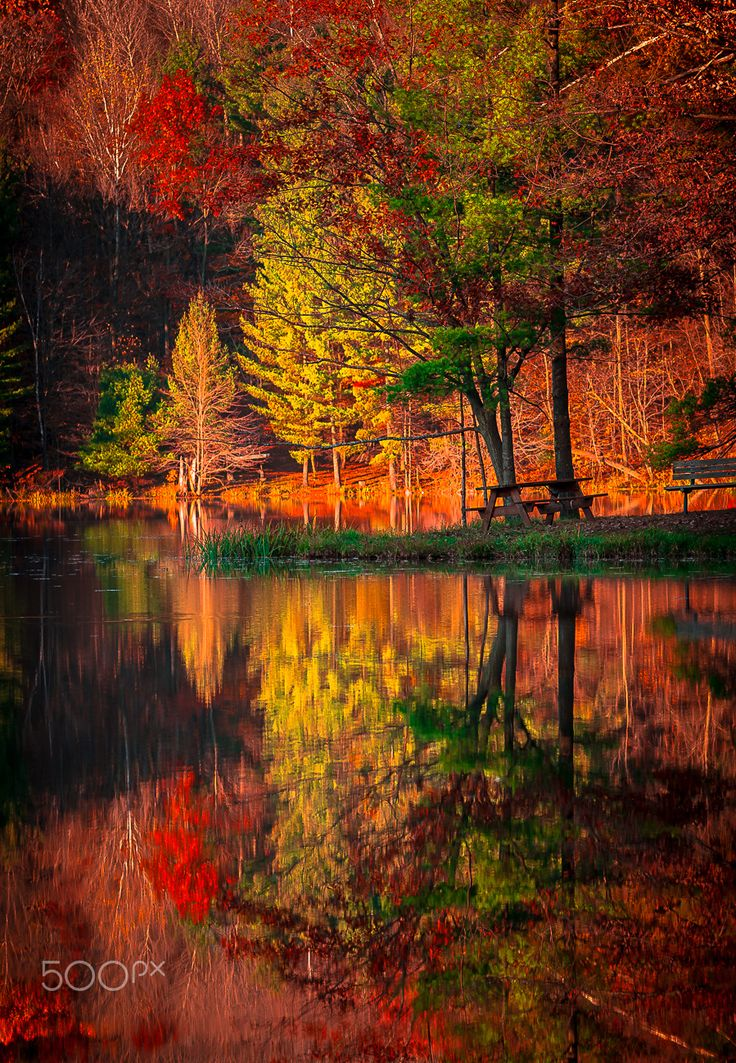 Autumn at the park by Chad Briesemeister - Taken at Clear lake park, Wisconsin #AutumnLeaves #reflection