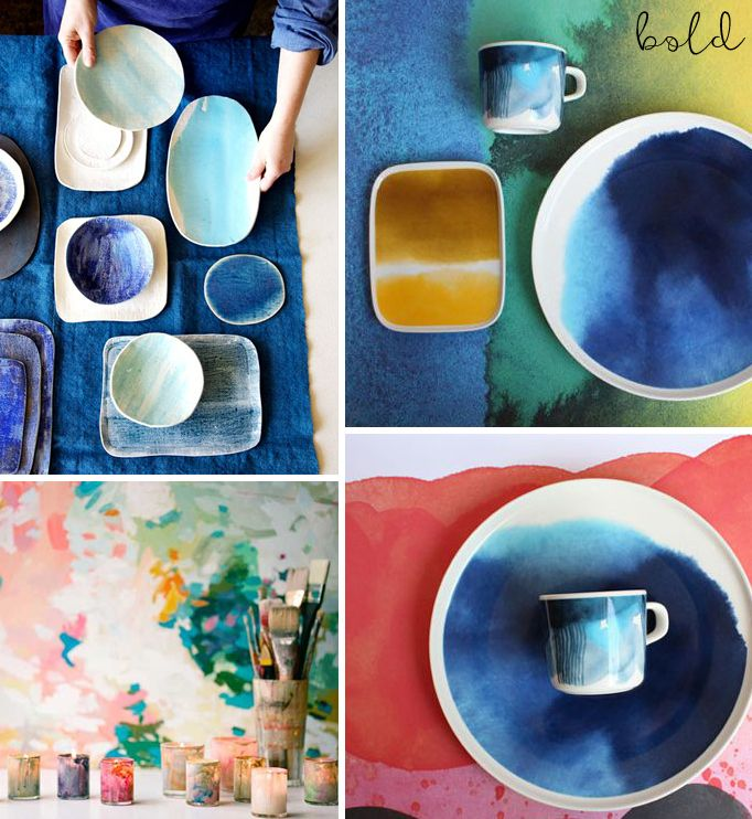 Watercolour ceramics - some great DIY gift ideas and inspirations! www.homeology.co.za