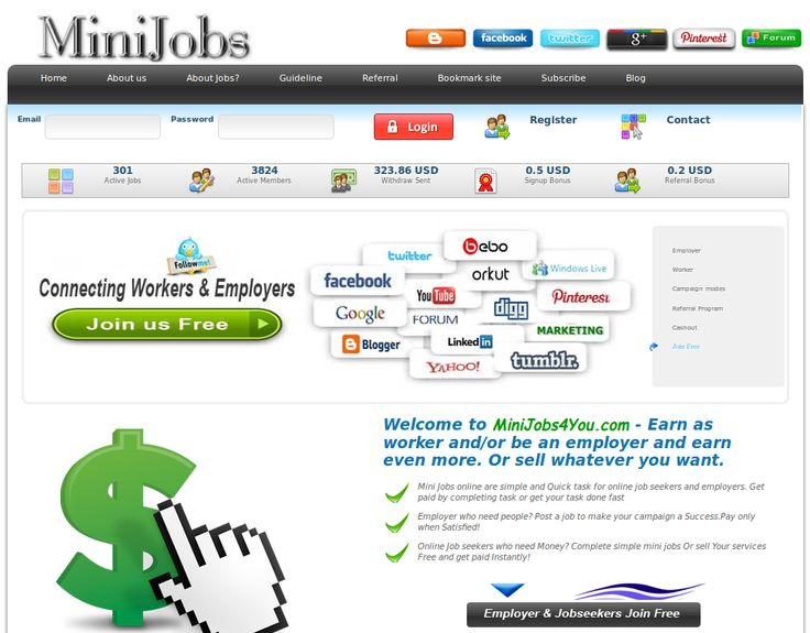 Welcome to http://MiniJobs4You.com - Earn as worker and/or be an employer and earn even more. Or sell whatever you want.
