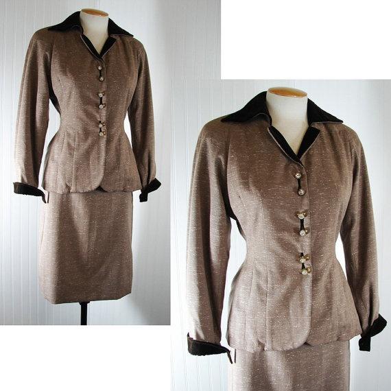 Vintage 1940s 40s Suit 20th CENTURY FOX Two Tone by jumblelaya, $228.00