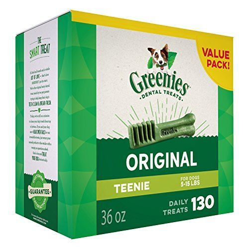 Greenies Dental Dog Treats, Teenie Size, Original Flavor , 36 Ounces, Greenies Dog Dental Chews: For Clean Teeth and Healthy Gums-130 Treats - Recommended by veterinarians for at-home oral care, GREENIES Dog Dental Chews provide a daily treat while controlling plaque, tartar buildup and bad dog breath. Our natural dog chews come in a TEENIE size for pets 5-15 pounds. These healthy dog dental treats are made from natural ingredients that...