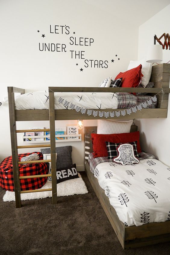 Shared Kids Space Inspiration -- beds plus a reading nook in a small space. Smart!