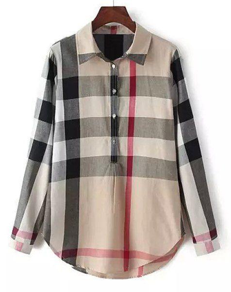 Simple Shirt Collar Long Sleeve Plaid Blouse For Women