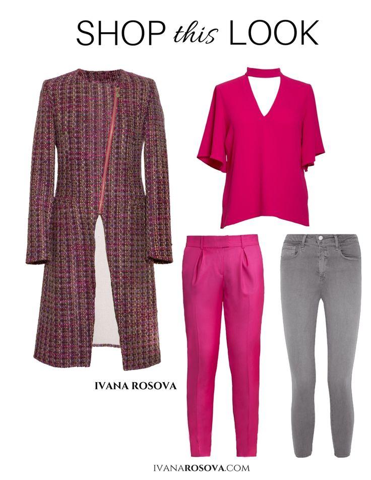 Shop designer magenta boucle coat and slim cigarette trousers at www.ivanarosova.com