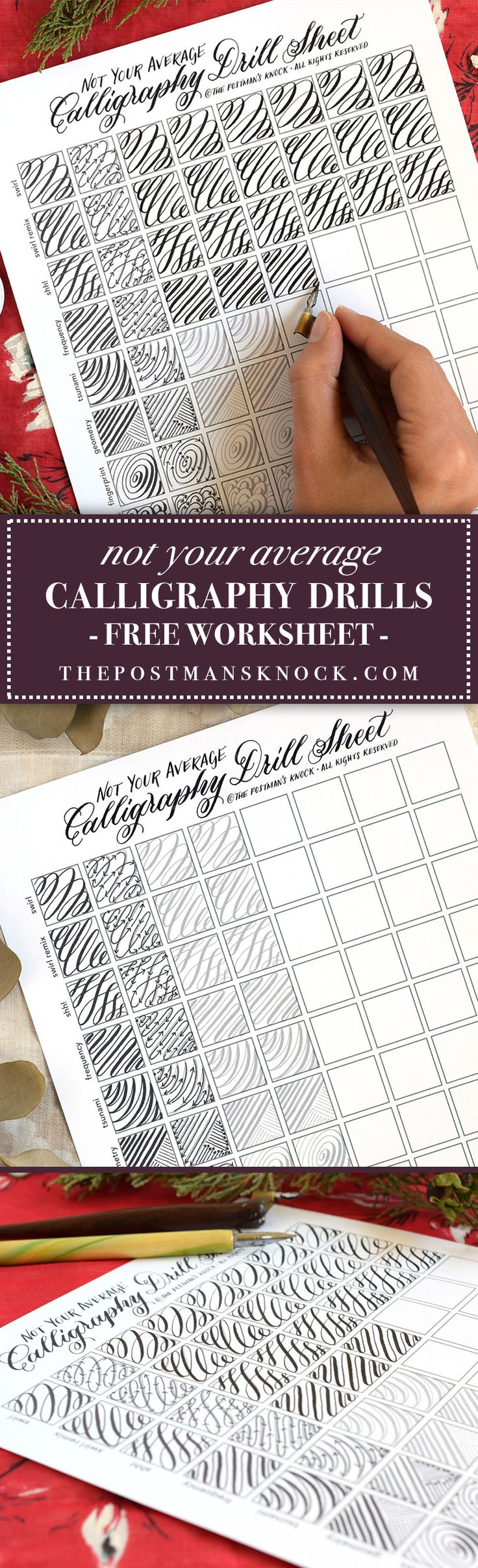 "With drills such as the ""octopus"" and the ""sea turtle"", this engaging worksheet will give you ample practice with your calligraphy pen!"