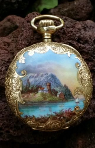 76 best waltham antique pocket watches images on pinterest pocket antique waltham 14k gold pocket watch ladys handpainted enamel picture casing mozeypictures Images