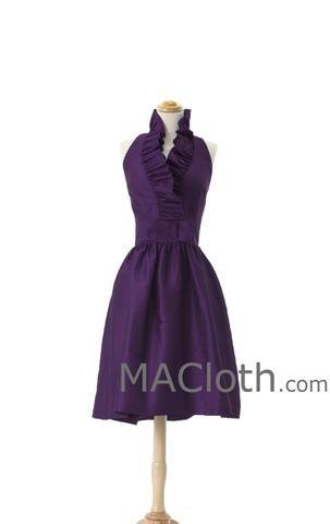 Halter Knee Length Grape Taffeta Bridesmaid Dress