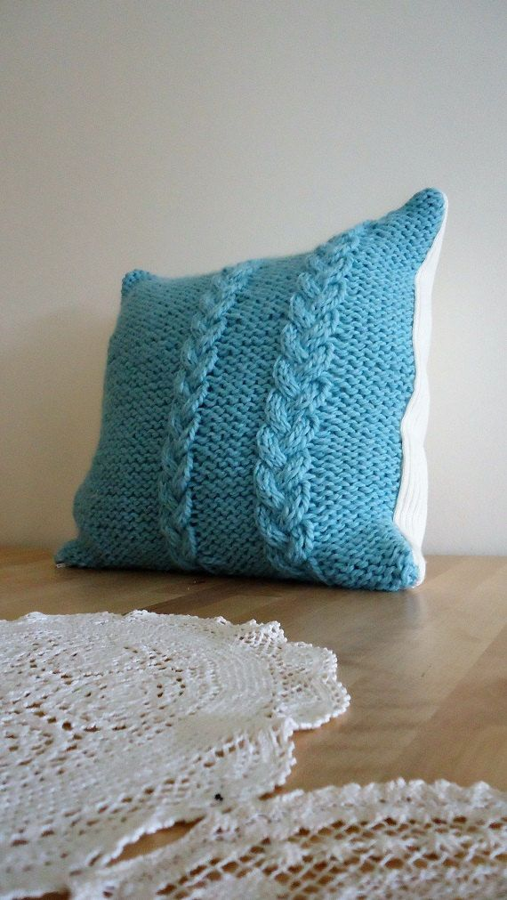 Handmade knitted Cushion Decorative Knit Cable by YellowByZoe