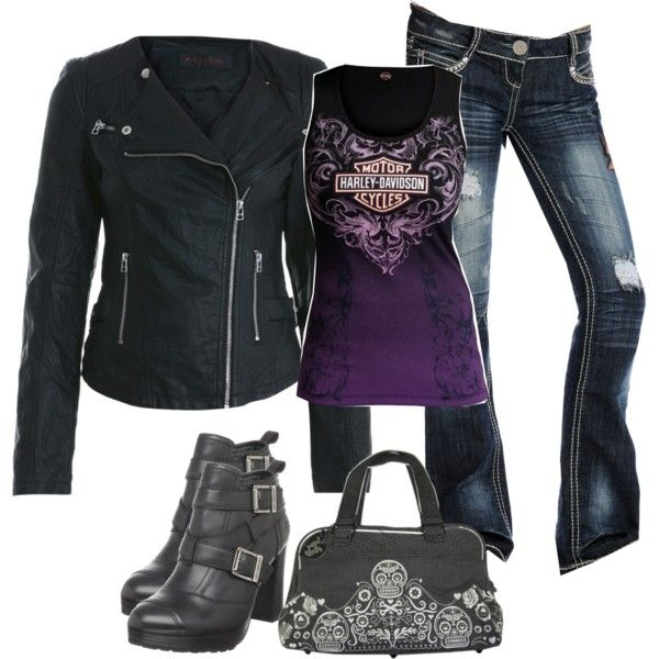 Harley-Davidson tops, Miss Selfridge jackets and Almost Famous jeans. Browse and shop related looks.