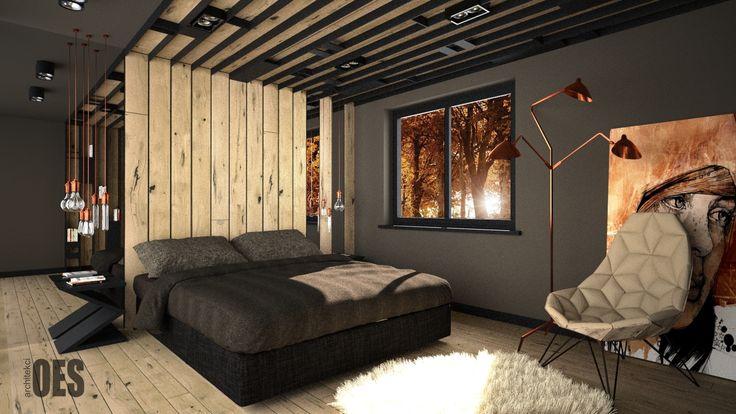 #woodinbedroom sypialnia w drewnie, drewniany sufit, lustro na ścianie, miedziane dekoracje