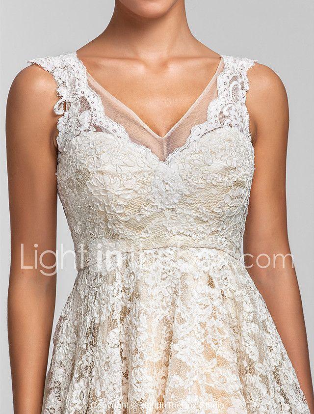 Lanting Bride® Asimétrica Encaje Transparente Vestido de Dama de Honor - Corte en A / Princesa Cuello en V Talla Grande / Pequeña con 2017 - €97.99