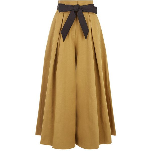 Temperley London Blueberry Tailoring Ruffle Culottes ($610) ❤ liked on Polyvore featuring pants, capris, temperley london, brown pants, ruffle pants, tailored pants and brown trousers