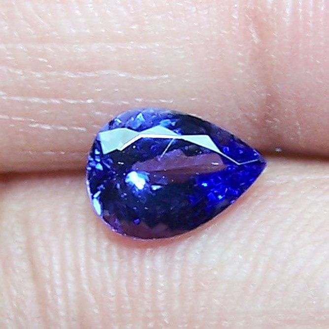 1.45 Cts Medium Blue Tanzanite Faceted Pear D Block AAA Natural Gemstone > For Engagement RingPendantBracelet