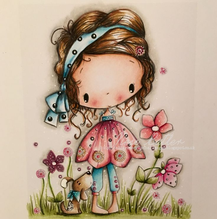 All dressed up/ Polychromos pencils/ Wendy Burns/ stamps/ digi/ image/ Ness Butler/
