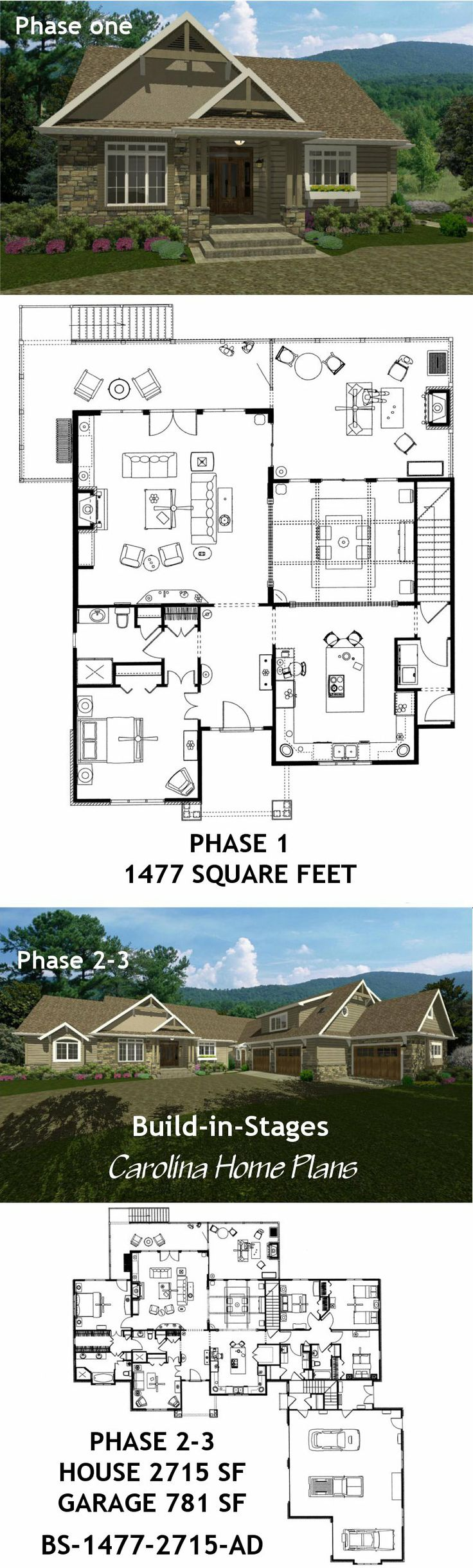 Images Of Expandable Craftsman, Flexible Build In Stages House Plan Easily  Choose A Build In Stages Expandable Open Floor Plan Homewith Views.