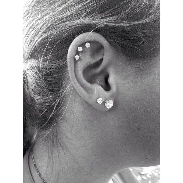Triple Cartilage Piercing tatoos piercings <3 ❤ liked on Polyvore featuring jewelry, earrings, piercings, accessories, tattoos and piercings and tattoo jewelry