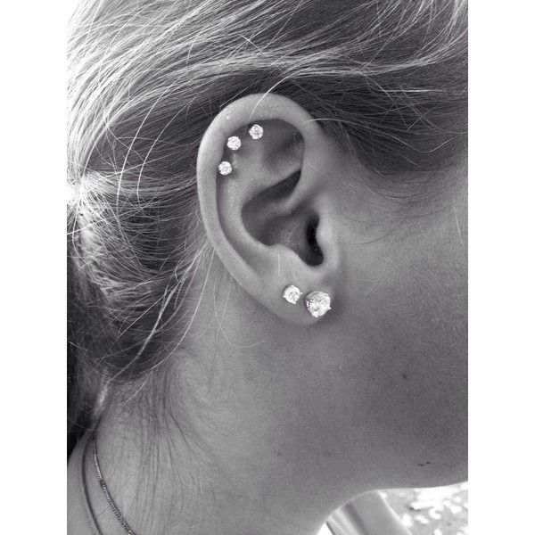 Triple Cartilage Piercing tatoos piercings <3 ❤ liked on Polyvore featuring jewelry, earrings, piercings, accessories, tattoos and piercings and tattoo jewelry
