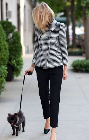 Houndstooth coat with a matching pup. #vfbestdressed