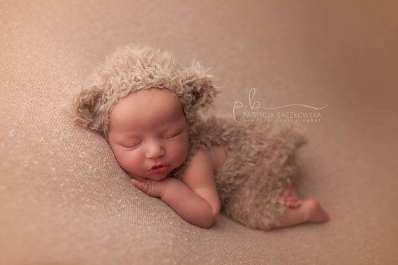 bear hat and romper set  newborn photo by LittleRaritiesStudio
