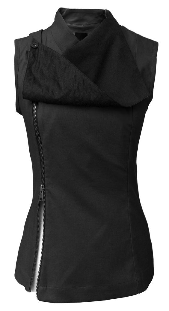 Black military / goth sleeveless top with zipper running the entire length of the left side and faux suede fabric draping across the front.. Get the supplies to make it: http://mjtrends.com/pins.php?name=black-faux-suede-fabric-for-womens-tops