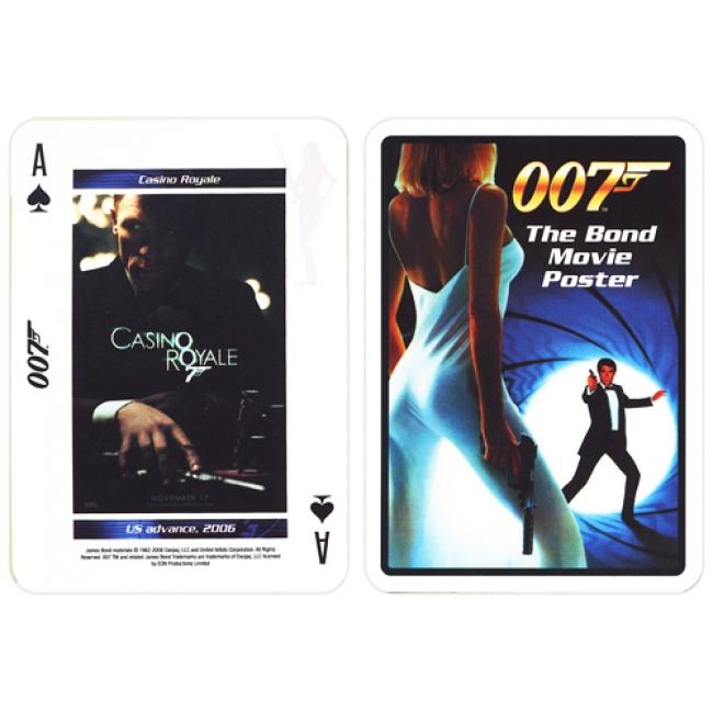 De James Bond film posters kaarten, 54 originele filmposters met afbeeldingen van 1962 tot 2008 van over de hele wereld van geheim agent James Bond. Deze 007 playing cards zijn van het merk Carta Mundi uit België.