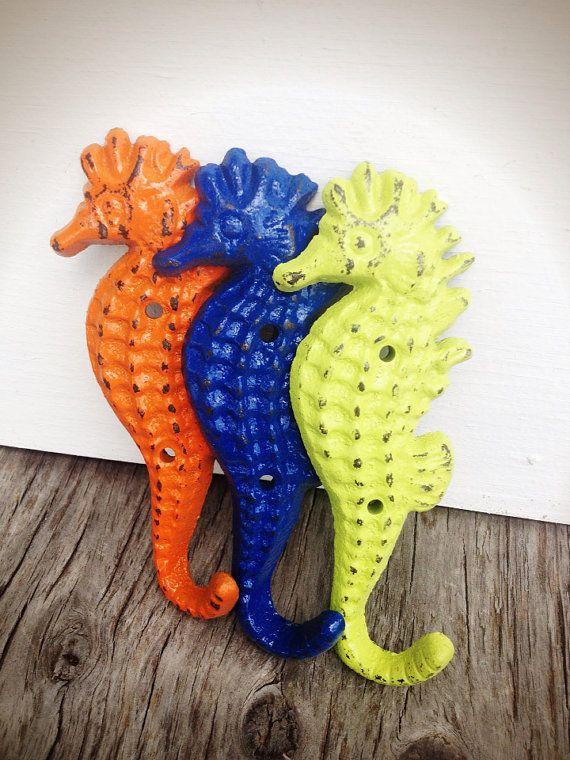 BOLD trio seahorse towel hooks // lime green orange by BOLDHOUSE