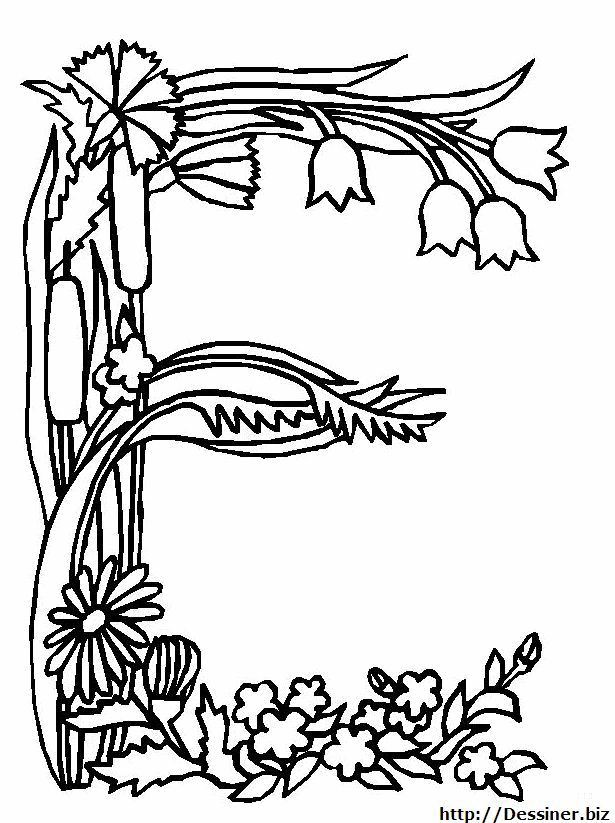 43 best letters 1 images on pinterest coloring pages coloring books and embroidery - Coloriage lettres fleurs ...