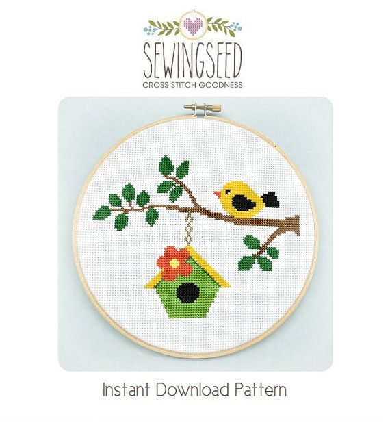 Bird on a Branch Cross Stitch Pattern Instant por Sewingseed