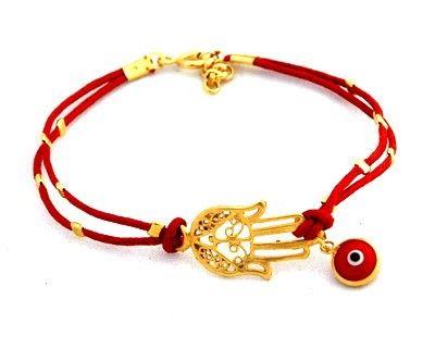 Red String Evil Eye Gold Plated Hamsa Bracelet