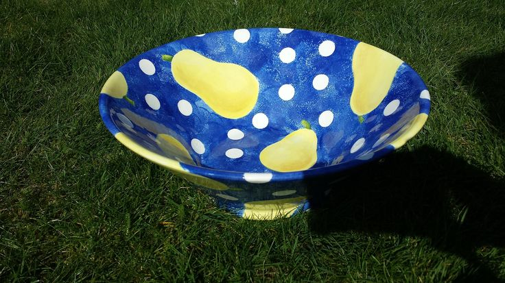 Hand painted pear and polka dot bowl. Be fruity and fun! http://greta63.wix.com/notallwhite