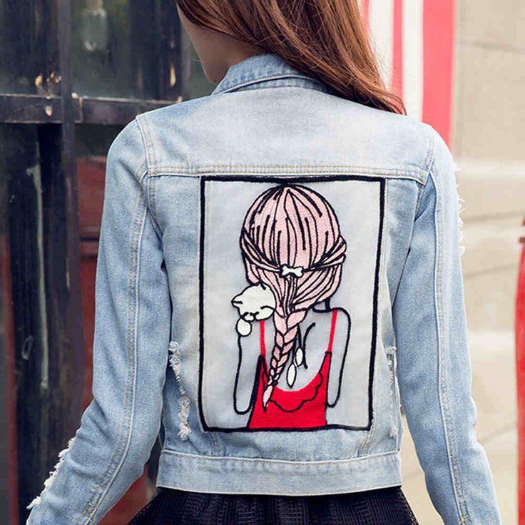 Купить товар2016 новая весна джинсовые куртки для женщин с девушка модель тонкая светлая синяя куртка женская chaquetas mujer в категории Стандартные курткина AliExpress.       Джинсовая куртка женская           Деним              Размер плеча бюст длина рукава                 S 37 см 80 см