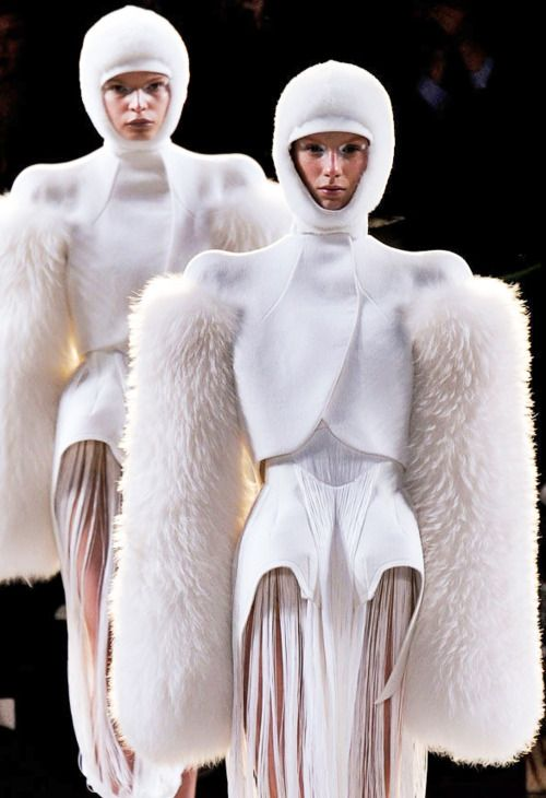 : Thierry Mugler  Winter 2012, ridiculous sleeves they look like cotton ear buds