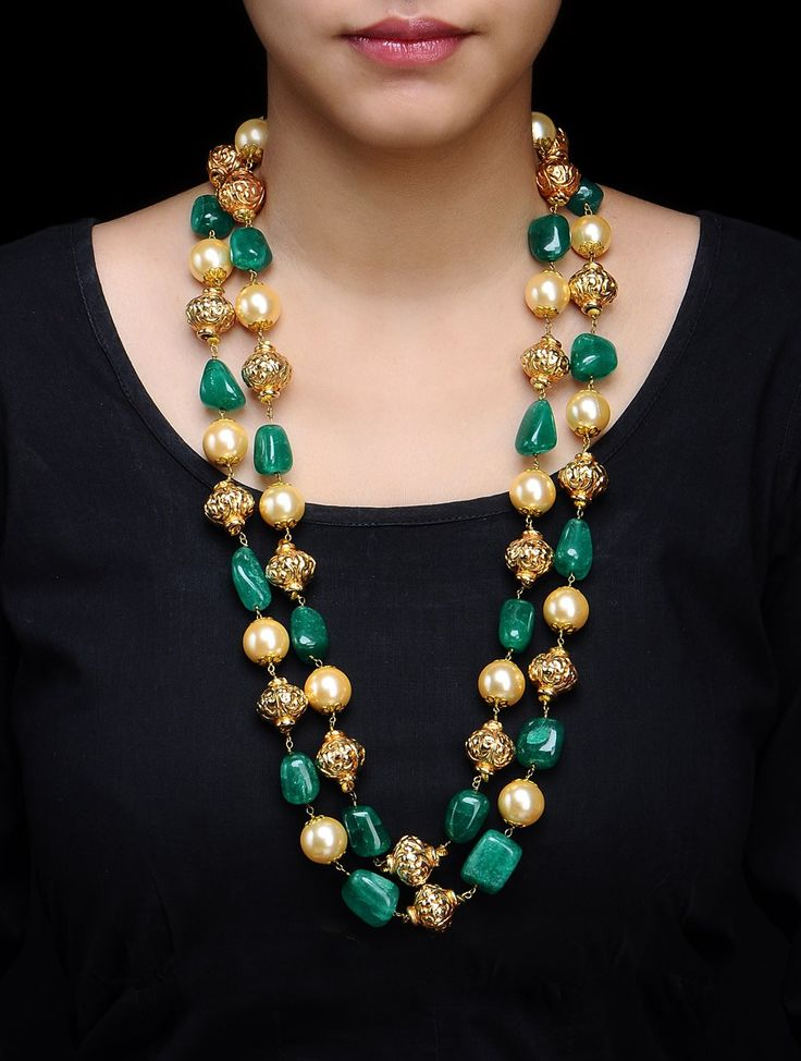Buy Golden Ivory Green Double Chain Carved Metal Beads Pearl Shell Necklace Alloy Semi Precious Stone Online at Jaypore.com