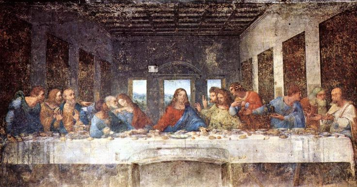 Leonardo DaVinci's Last Supper was painted around 1495. It depicts the twelve disciples and Jesus as told in the Gospel of John, 13:21. The painting is quite large (180 in x 350 in.) and has undergone many renovations over the years. The painting is interesting because it shows the different reactions of each disciple. There are also many interpretations that the painting has hidden messages.