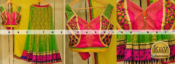 http://www.kayfashions.in/#!/ Fabulous Fuschia: Elegant Ghagra choli with a green net outer and a contrasting fuschia Pink blouse with lemon yellow duppatta. Neck piece, embellished with golden border giving an Indo-ethnic impact to the outfit. Can be worn for Sangeet ceremony and marriage functions. Have you shopped at Kay to get an amazing varieties of these heavy wear Ghagra choli's?