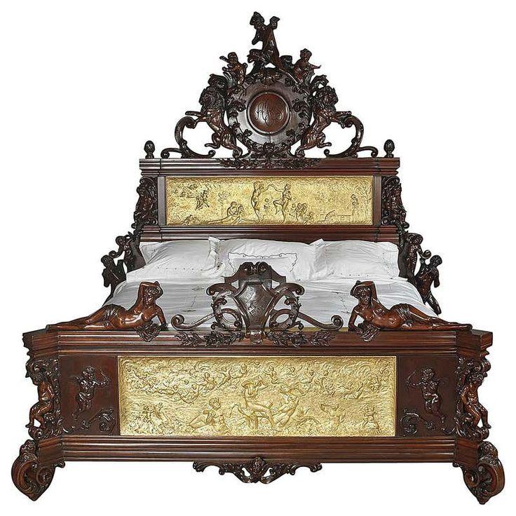 Exhibition Austrian NeoBaroque Carved Mahogany Bed, circa