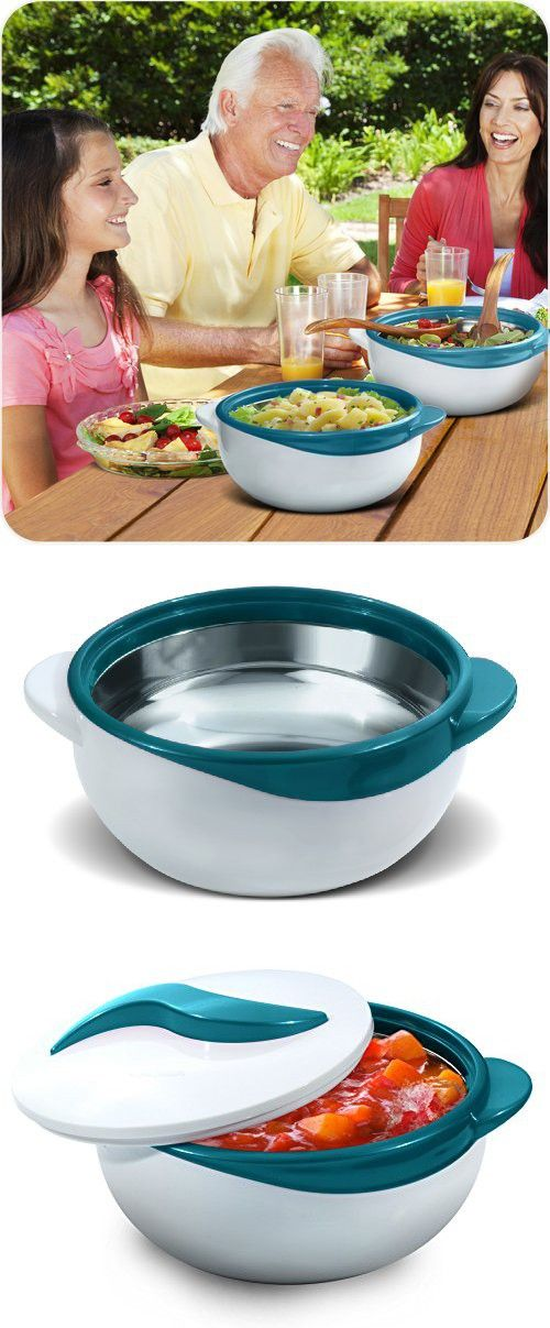 Pinnacle Turquoise Serving Salad/ Soup Dish Bowl - Thermal Insulated Bowl with Lid -Great Bowl for Holiday, Dinner and Party 2.6 qt