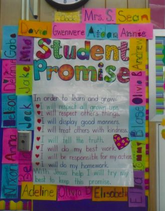 The Very Busy Classroom: classroom management:  Love the cheerfulness of the bright names framing the Class Promise