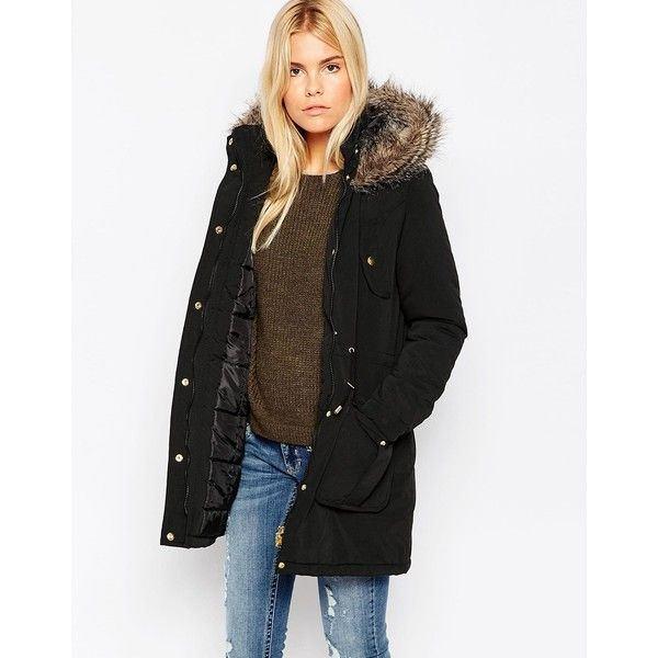 Brave Soul Parka With Faux Fur Hood featuring polyvore, fashion, clothing, outerwear, coats, black, faux fur trim parka, quilted parka, faux fur hood coat, lined parka and faux fur trim hooded parka