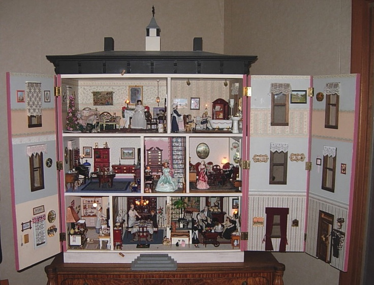 Vintage Victorian Dollhouse Completed Electrified Furnished | eBay