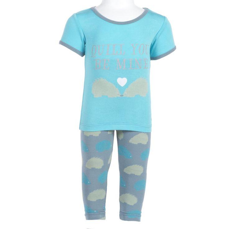 KicKee Pants Short Sleeved Pajamas - Dusty Sky Porcupine