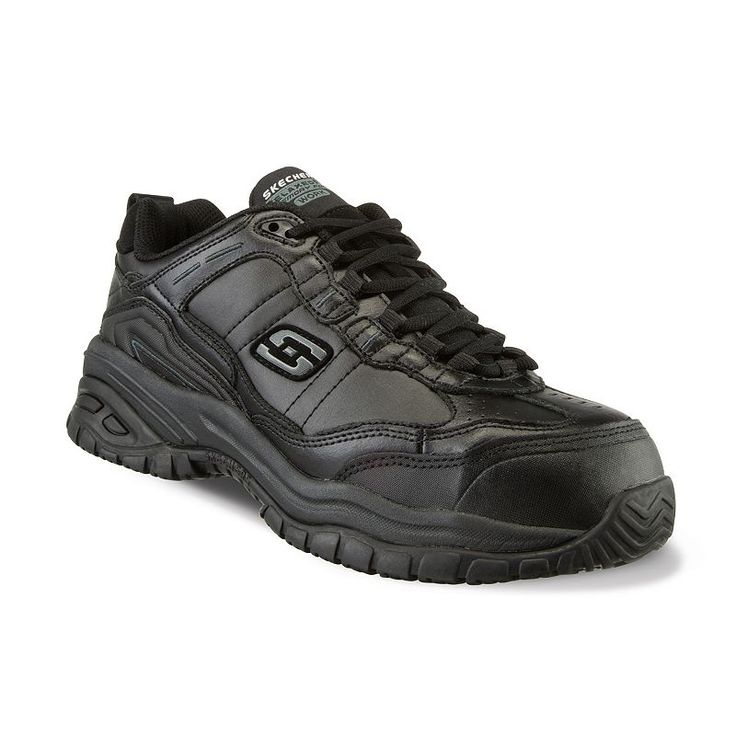 Skechers Work Relaxed Fit Soft Stride Chatham Men's Composite-Toe shoes, Size: 7.5 Wide, Grey (Charcoal)