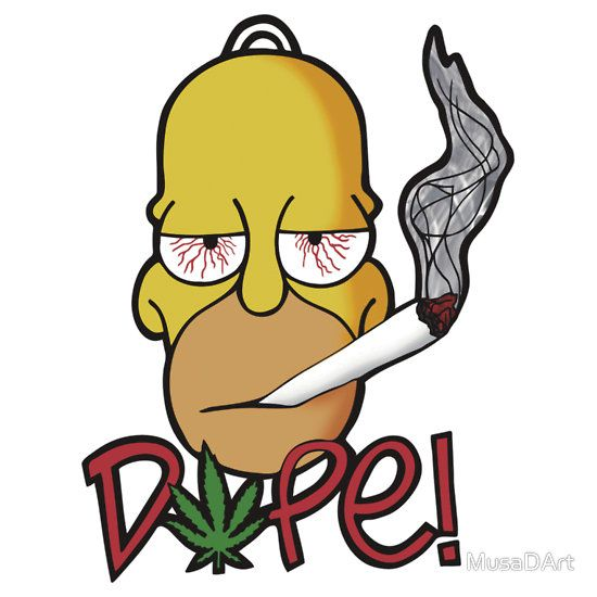 Homer Dope (D'OH) Available to buy on… T-Shirts & Hoodies Stickers  #simpsons #weed #dope #cool #funny