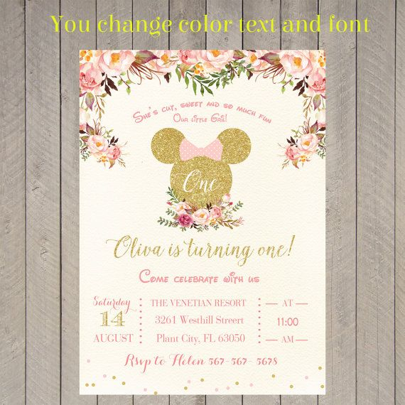 Minnie Mouse Pink Gold Glitter Birthday Party by KidsinvitationCo
