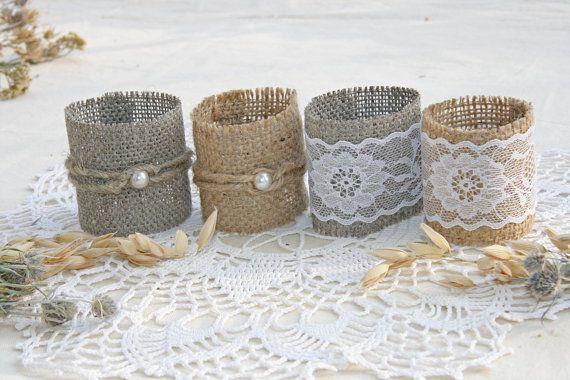 Arpillera boda servilleta anillos decoración de por FriendlyEvents