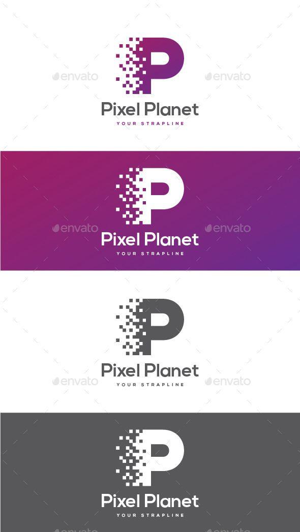 Pixel Planet Letter P - Logo Design Template Vector #logotype Download it here: ...