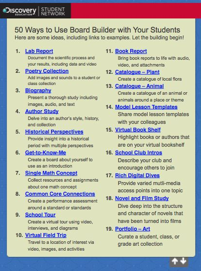 50 ways to use the Discovery Education 'Board Builder' tool in your classroom.