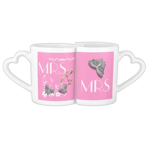 A lovely love mug set with words Mrs and Mrs and pretty flowers and butterflies in pink, black and white, very stylish and a great wedding gift for the happy lesbian couple. #black-and-white #butterfly #butterflies #flowers #cute #happy-couple #wedding-gifts #couples #mrs-and-mrs #pink #stylish #mug-pairs #same-gender #lesbian #lesbian-wedding-gift
